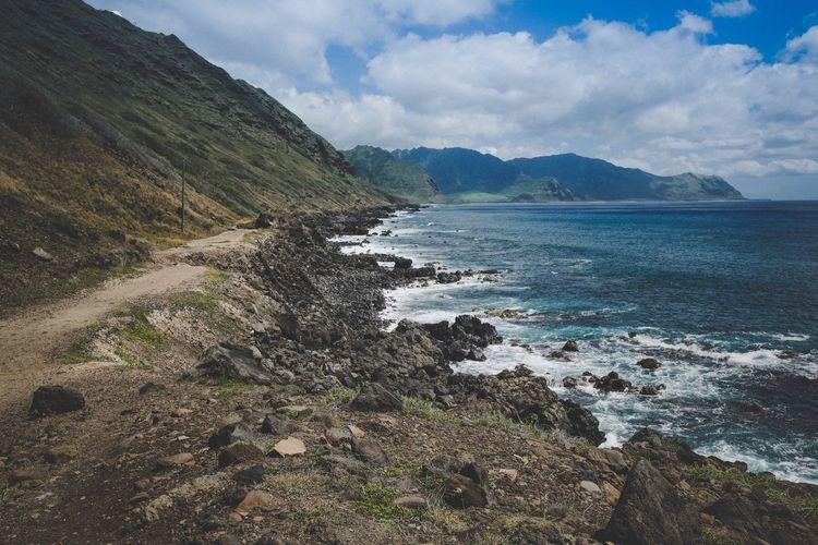 Views.. Water Sea Mountain Tranquil Scene Scenics Sky Coastline Tranquility Cloud Beauty In Nature Cloud - Sky Nature Calm Shore Mountain Range Rocky Non-urban Scene Outdoors Remote Solitude