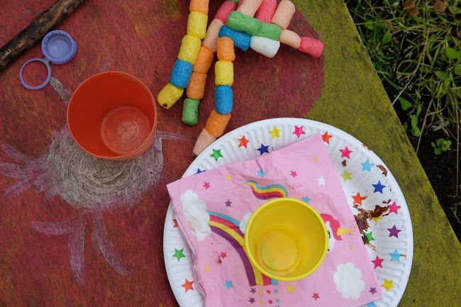 High Angle View Multi Colored Paint Table Plate Directly Above Palette No People Outdoors Day Party Kids Party