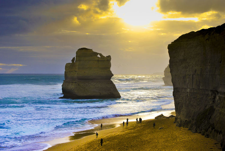 Beach Beauty In Nature Cliff Cloud - Sky Day Horizon Over Water Nature Outdoors Sand Scenics Sea Shore Sky Sun Sunlight Sunset Tranquil Scene Tranquility Water Wave Lost In The Landscape