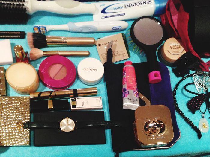 Traveling Packing Basics GirlsStuff Watch Parfume Makeup Accessories ❤ Hairbrush Mirror Shanghai China Nailpolish Facialcream Hairband