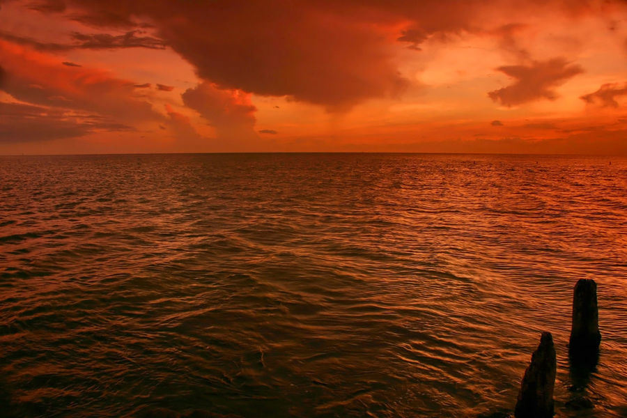 Beauty In Nature Cloud Dramatic Sky Gulf Of Mexico Madeira Beach Florida No People Ocean Ocean View Orange Color Saint Petersburg Florida Scenics Sea Seascape Sky Sunset Tampa Bay Tranquil Scene Water