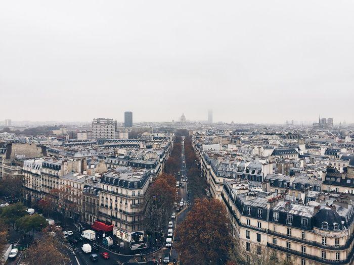 Aerial view of paris, looking south