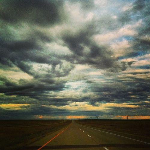 Sometimes the sky looks so unreal, you have to pinch yourself for reality to sink in. Travel Nature Sky Sun beautiful pretty sunset weather clouds cloudporn skylovers skypainters mothernature ladd00 roadtrip canada explorecanada travelcanada prairielife prairies prairieskies landoflivingskies Saskatchewan sask exploresask