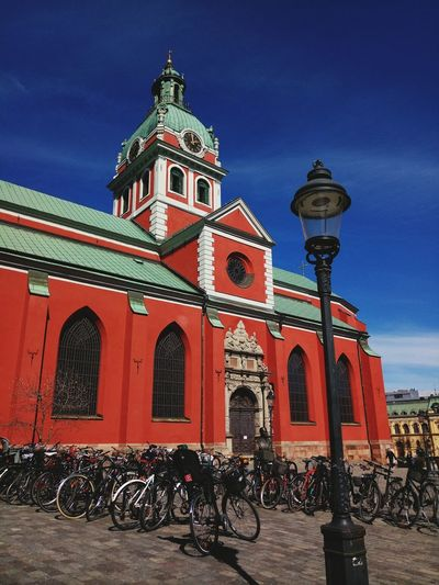 Outdoors Built Structure No People Sky Day Building Exterior City Street Photography Stockholm Sweden City Life Streetphotography Church Architecture Architecture Bicycles