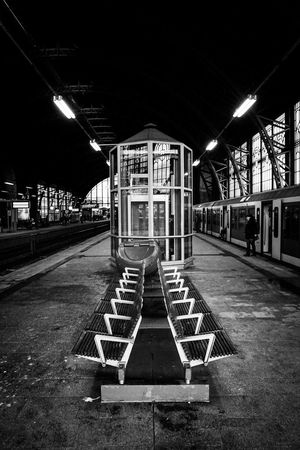 Public Transportation Train Station Waiting For A Train Railway Station Train Running Late Black And White Blackandwhite Elevator