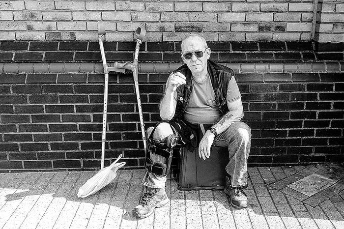 On the mend xxxxxxx Nefilian Xxxxxxx Family❤ Brokenleg Smoker Crutches Walking Around Resting Black & White X