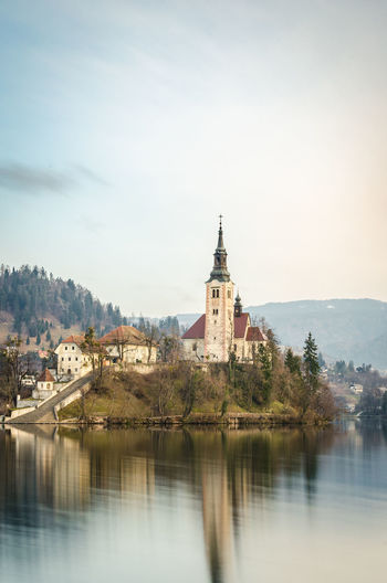 Church By Lake Bled Against Sky
