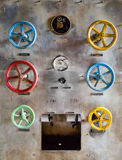 Colours Circle Machine Part Machinery No People Geometric Shape Valve Shape Wheel Technology Control Industry Yellow Machine Valve Colours Red Green Blue Germany Deutschland Canon Detail Still Life Machinery Metal EyeEmNewHere