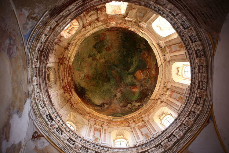Directly below shot of dome of building