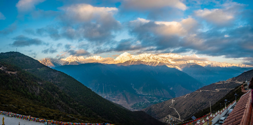 Mountain Cloud - Sky Sky Mountain Range Beauty In Nature Scenics - Nature Tranquil Scene Tranquility Nature Non-urban Scene Environment Landscape Idyllic No People Panoramic Outdoors Remote Travel Winter Mountain Peak Snowcapped Mountain Range Meili Snow DeQin Yunnan China Tibet Top High Fog Cool Cold