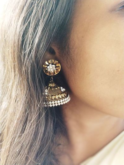 """""""Jhumkas"""" beautyness attracting pill of indian beauty's Millionnaire Young Women Beautiful Woman Full Frame Luxury Human Skin Women Beauty Jewelry Close-up"""