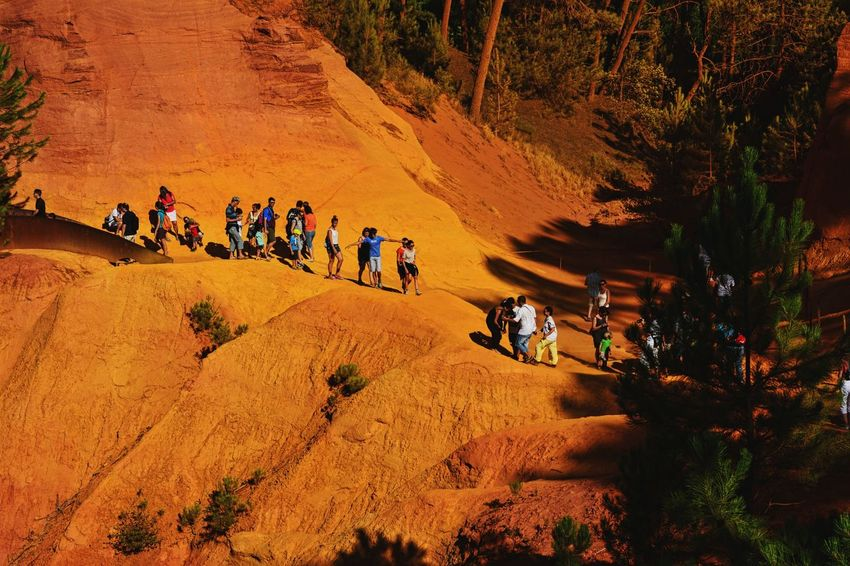 Forest Colors Colorful Ocher Ocher Color Ocher Cliffs High Angle View Riding People Large Group Of People Outdoors Nature Beauty In Nature Mountain Adventure Leisure Activity