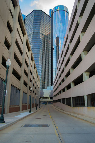 Architecture City Cityscape Day Detroit Downtown District Leading Lines Modern Office Outdoors Parking Garage Photography Road Urban Road