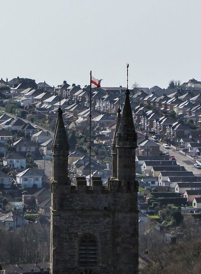 Flag Day Outdoors No People Cityscape Travel Destinations Sky Church Church Tower Perspective Rooftops Plymouth City Devon Built Structure Building Exterior Architecture St. Edwards Church The Week On EyeEm