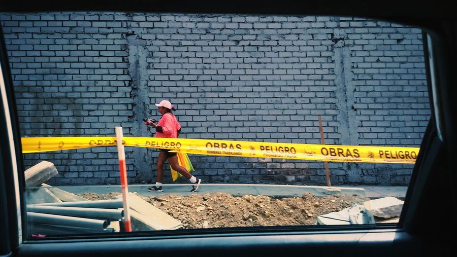Can't stop, won't stop VSCO Streetphotography Limaperu Full Length Barricade Cordon Tape Moving Boundary International Women's Day 2019