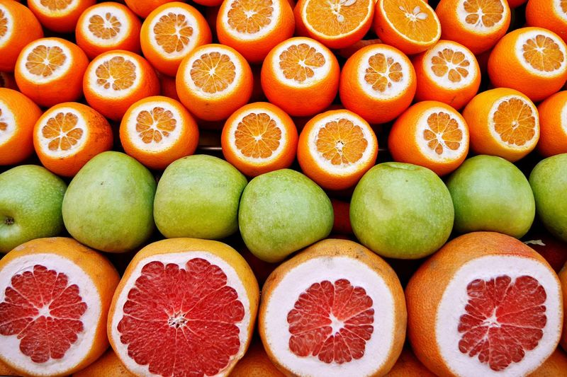 Full frame shot of citrus fruits at market stall