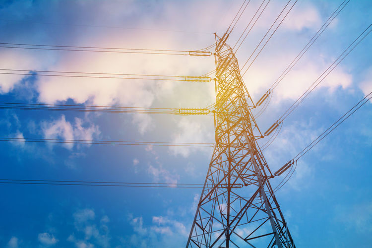 Architecture Blue Built Structure Cable Cloud - Sky Complexity Connection Day Electrical Component Electrical Equipment Electricity  Electricity Pylon Fuel And Power Generation Girder Iron - Metal Low Angle View Metal Nature No People Outdoors Power Line  Power Supply Sky Tall - High Technology