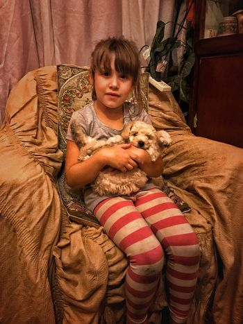 Little girl with little dog Dog One Animal Domestic Animals Animal Themes One Person Mammal Indoors  Real People Embracing Home Interior Bonding People Friendship Portrait Day Camouflage Clothing Adult Adults Only Canichetoy Caniche Little Girl My Little Girl Little Dog Little Dog ❤️