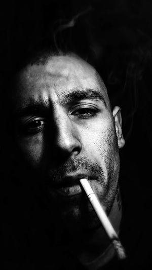 Black And White Self Portrait Smoking Dark Eyes