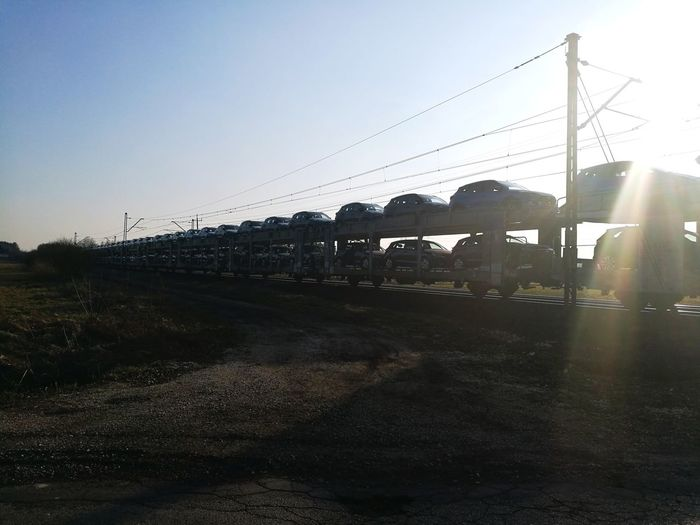 Sunset Silhouette Poland Huwei P9 Transportation Train Sunset Silhouette Outdoors No People Day Nature Large Group Of Objects Large Group Of Cars Cars Transport Rail Transportation