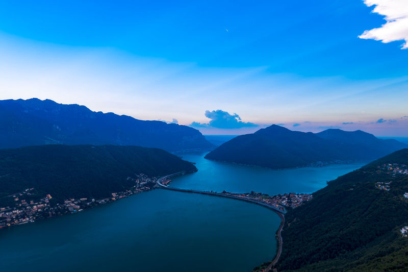 Mountain Scenics - Nature Beauty In Nature Water Sky Tranquil Scene Mountain Range Tranquility Cloud - Sky Nature Idyllic No People Non-urban Scene Blue Day High Angle View River Environment Outdoors