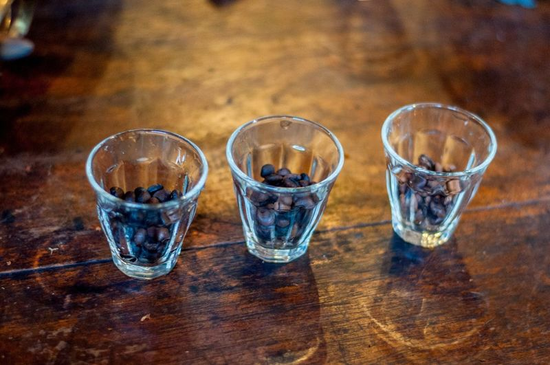 Coffee Homemade Coffee Bean Dark Coffee Drinking Glass Food And Drink Fresh Coffee Freshness Homemade Coffee Local Coffee Refreshment Roasted Roasted Coffee Roasted Coffee Bean Shot Glass Table Wood - Material