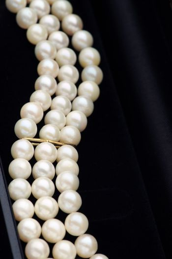 Close-Up Of Pearl Necklaces In Box