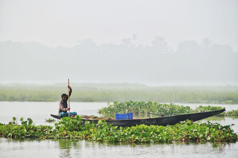 Water Real People Nature Day Men Beauty In Nature Lifestyles One Person Lake Outdoors Balance Waterfront Full Length Leisure Activity Growth Nautical Vessel Tree Fog Sky People Bangladeshi @anickchowdhurymp EyeEmNewHere Beauty Of Bangladesh Eyeembangladesh