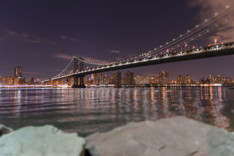 Manhattan Bridge at night Architecture Bridge - Man Made Structure Building Exterior Built Structure Chain Bridge City Connection Illuminated Manhattan Bridge Night Nightphotography No People Outdoors River Sky Suspension Bridge Tourism Transportation Travel Travel Destinations Water The City Light
