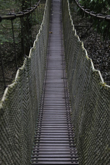 High angle view of footbridge