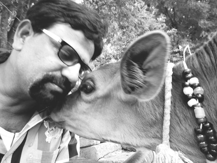 That's Me Old Pic  Happy Mood ! ^.^ At My Farm With Little Calf I Love It Hanging Out Love U All From India With Love...