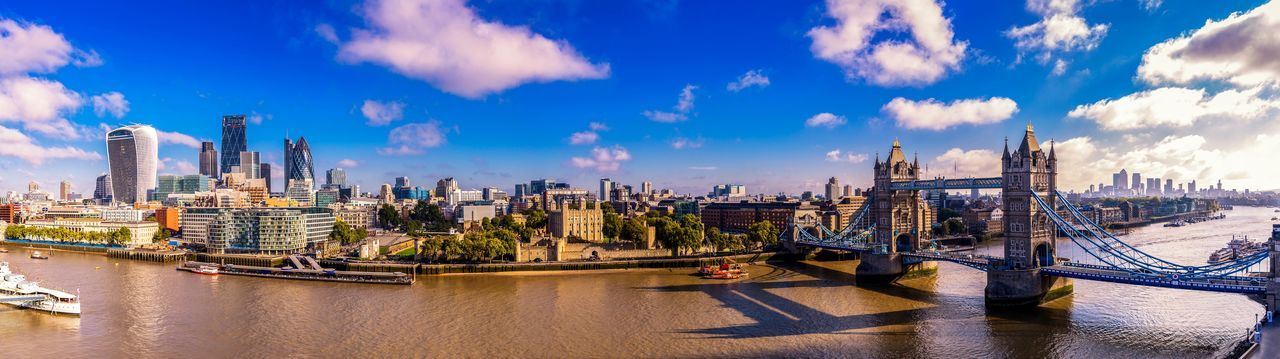 London city panorama London Financial District  Busy Day Daytime River Thames Skyline River Bank  River Thames Tower Bridge  Capital City Metropolitan Uk Uk England London City LONDON❤ Sky Cloud - Sky Building Exterior Architecture Water Built Structure Panoramic City Cityscape Transportation Travel Destinations Travel Building Office Building Exterior Nautical Vessel