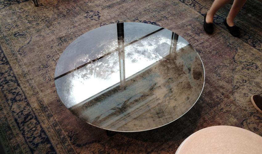 Glass table on floor