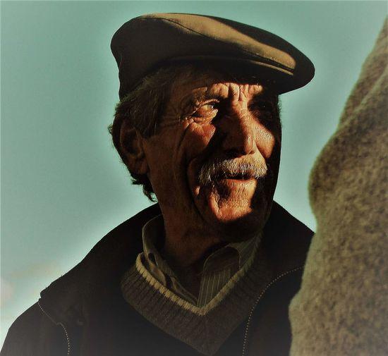 Close-up portrait of a senior man