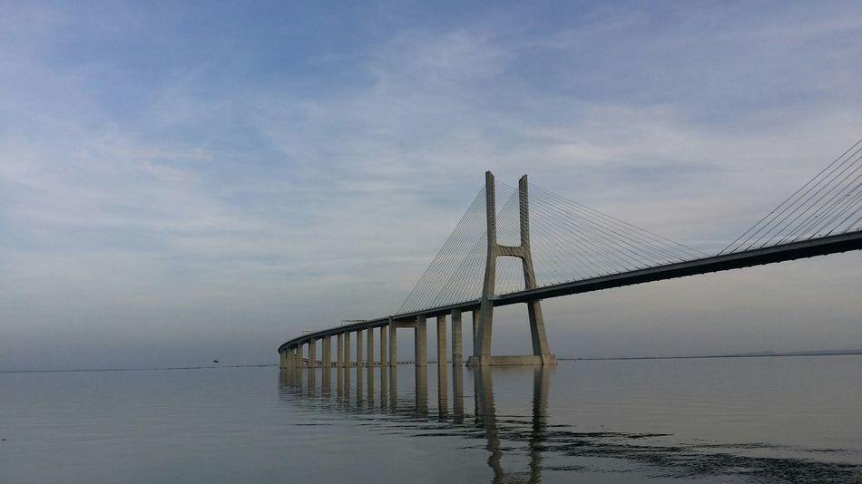 Bridge Ponte Vasco Da Gama Water Reflections Lisbon Oriente