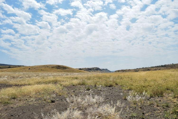 Arid landscape against a cloudy sky, lake magadi, rift valley, kenya