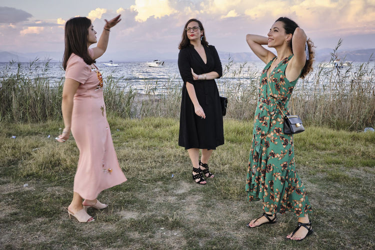Here for a wedding, Corfu, Greece - 2018 Togetherness Young Women Wedding Real People Fashion Beautiful Woman Friendship Full Length Clothing Standing Young Adult People Land Leisure Activity Corfu Kerkyra Greece My Best Photo International Women's Day 2019 Exploring Fun Springtime Decadence