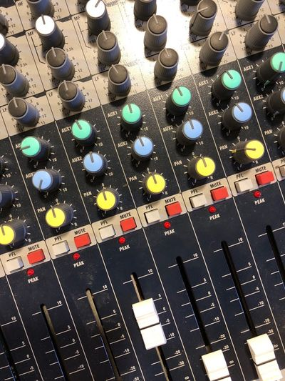 Mixing Console Sound Mixer Sound Recording Equipment Audio Equipment Music Control Studio Technology Recording Studio Control Panel Knob Arts Culture And Entertainment Full Frame No People Equipment Indoors  Close-up Backgrounds High Angle View In A Row