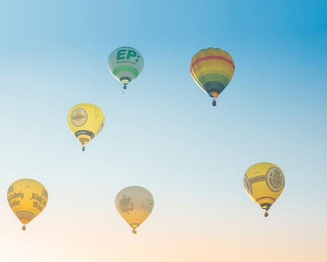 Start  hot air balloons in oeventrop arnsberg. morning mist. warsteiner international montgolfiade