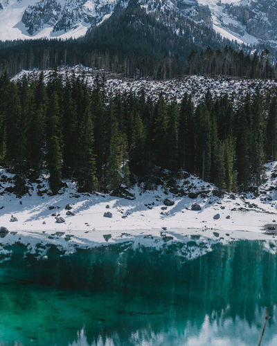 Scenic view of snowcapped mountains and lake during winter
