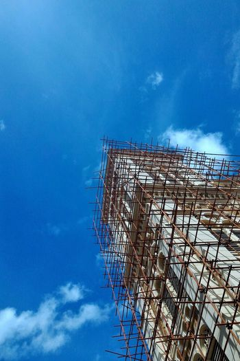 Repair Architecture on blue sky Sky Cloud - Sky Blue Architecture Day Built Structure Outdoors Building Exterior City Modify Repair Restore Color Old