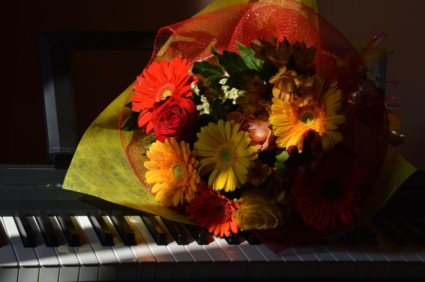 Paint The Town Yellow Piano Yellow Flower Boquet Boquet Of Flowers Music Flower Raw Image Warm Colors Yellow