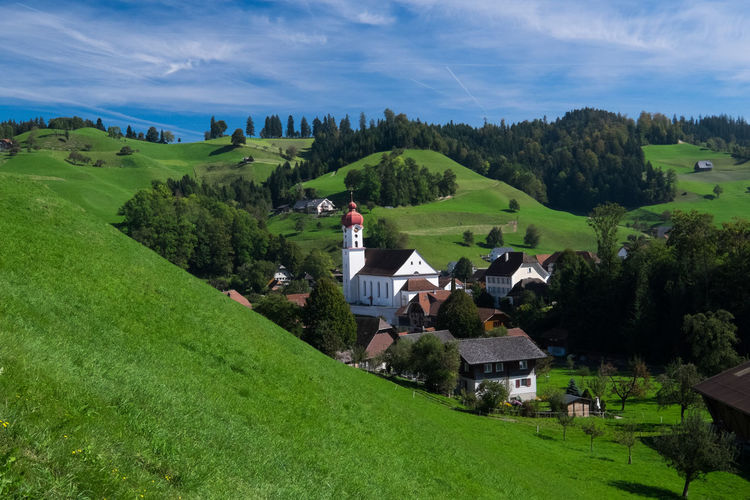 Church Grass Green Luthern Countryside Green Color Green Grass Idylic Rural Scene Switzerland Village