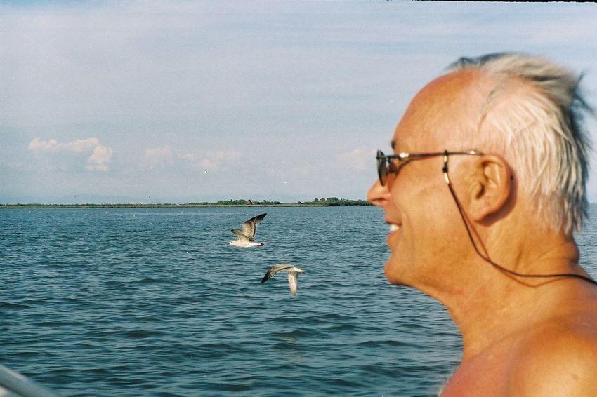 En route vers Propriano Mer Bruno Adriatic Sea Sky Bird Boat ItaliaBenedetti  Argentique Helios 52mm/1:2 Padre Souvenir Venezia Laguna