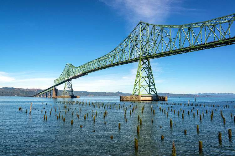 Astoria Megler Bridge crossing the Columbia River in historic Astoria, Oregon Astoria Oregon Columbia River Tourism Travel Destinations Travel Sky Nature Outdoors Astoria-megler Bridge Astoria Megler Bridge Bridge Water Connection Built Structure Architecture Bridge - Man Made Structure Transportation Waterfront Engineering Day River Blue Scenics - Nature Bay Long Wooden Post