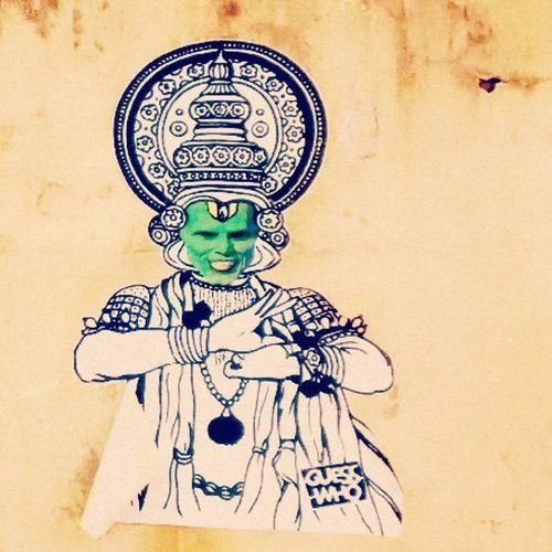 The mask playing kathakali... Kochimuzirisbiennale Creative Graffiti Guesswho Streetart Fortkochi Kochi Love Kerala GodsOwnCountry Awesome Art Exhibition TheMask Jimcarrey Kathakali Traditional Dance Nice Work Good Day