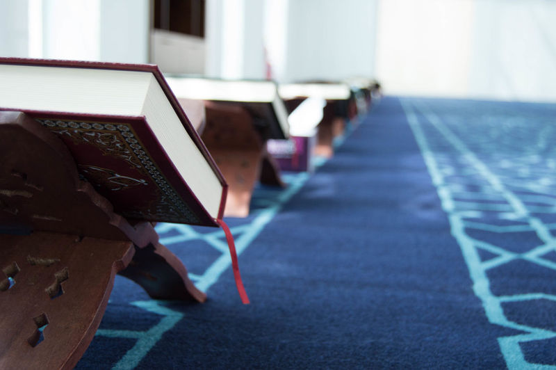 Absence Amazing Beautiful Blue Book Day Empty Focus On Foreground Furniture In A Row Light Mosque Nikon Nikon D3200 No People Photo Photography Photooftheday Picture Pictureoftheday Repetition Shadow