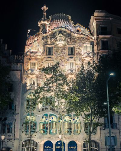 Architecture Barcelona Gaudi HUAWEI Photo Award: After Dark SPAIN Architecture Building Building Exterior Built Structure City History Illuminated Lighting Equipment Low Angle View Nature Night No People Outdoors Plant Residential District Street Street Light The Past Tree Window