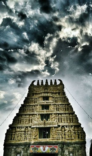 Cloud - Sky Low Angle View Dramatic Sky Architecture Travel Destinations Place Of Worship Karnataka India Hassan Belur