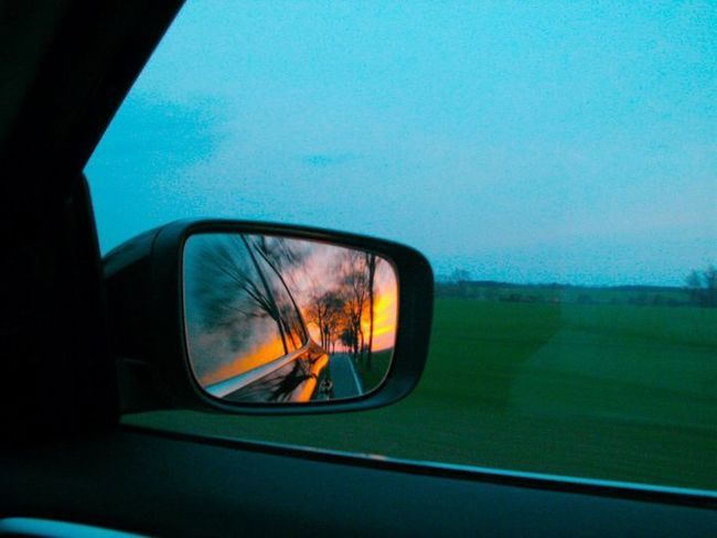 What's behind us... What Lies Beyond... Behind Reflection Mirror Car Car Mirror Car Mirror Pic Sundown Meanwhile Driving My Car